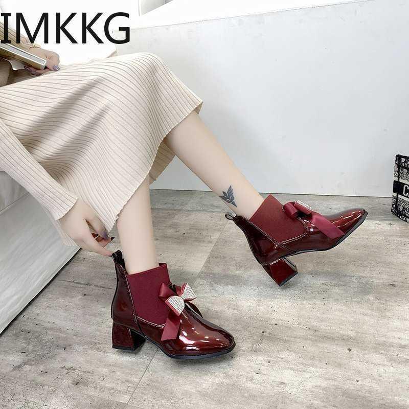 Botas de mujer Modas de Moda Tacones altos Grueso Tacones Altos Sweet Boot Botines Cómodo Redondo Toe Otoño Zapatos de invierno Botas Rojas Mujeres 210610