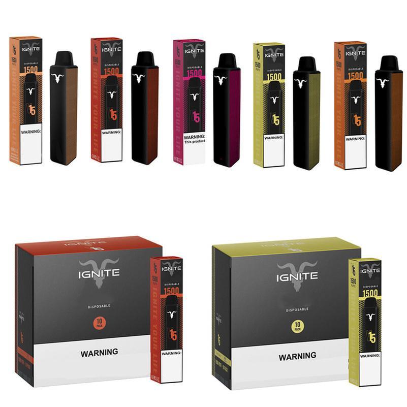 IGNITE V15 Disposable E cigarettes 1500 Puffs Vape Pen 5.1ml Pods Cartridges Vaporizers 850mAh Battery Vapor