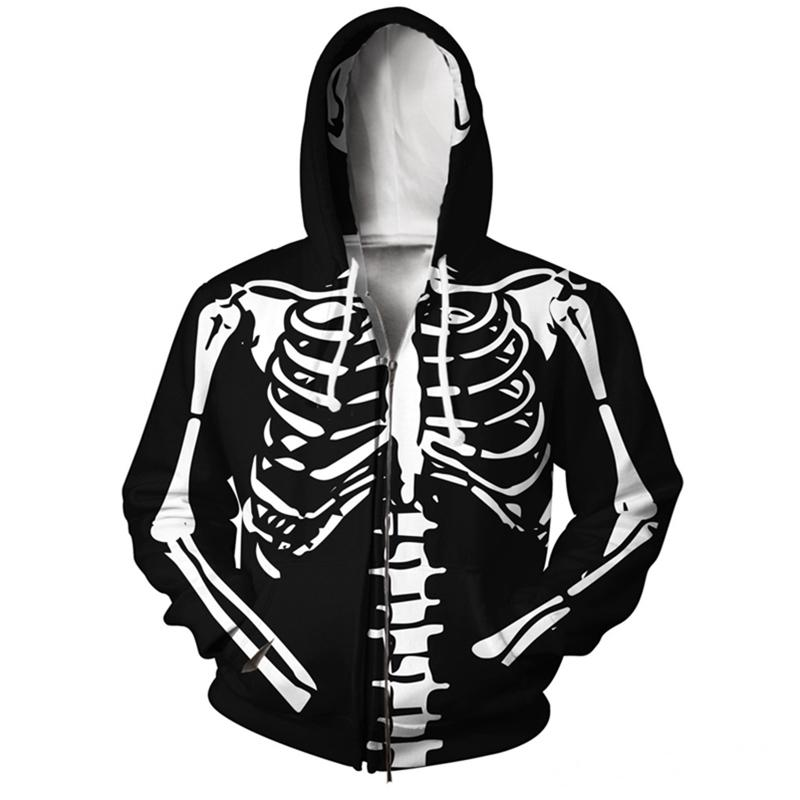YX Girl goutte Skeleton Zip-Up Hoodie Veste Hommes / Femmes Sweat à capuche Taille Taille XS-5XL Pull Tops HIP 210728