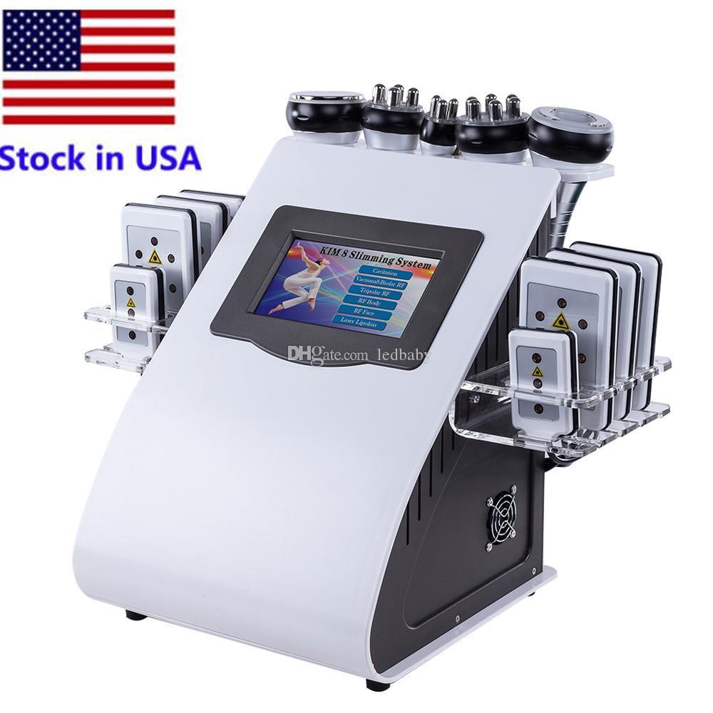 الأسهم في الولايات المتحدة بالموجات فوق الصوتية التجويف آلة التخسيس 6in1 ليبو الليزر الجسم فراغ تردد الراديو rf صالون سبا صمام ديود lipolaser 8 منصات حرق معدات الدهون