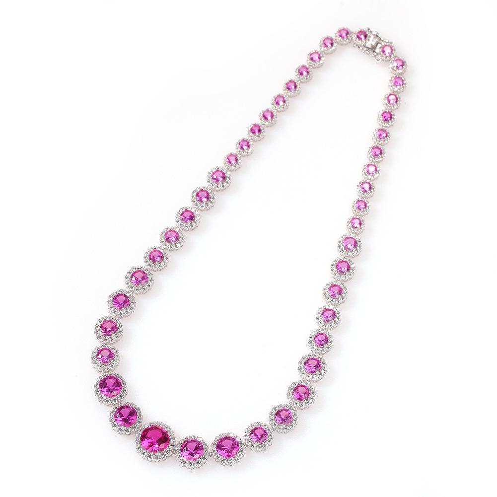 Collier de chaîne de tennis de zircon cubique rose cubique pour femmes glacé bling hip hop bijoux cadeaux Colliers claquables