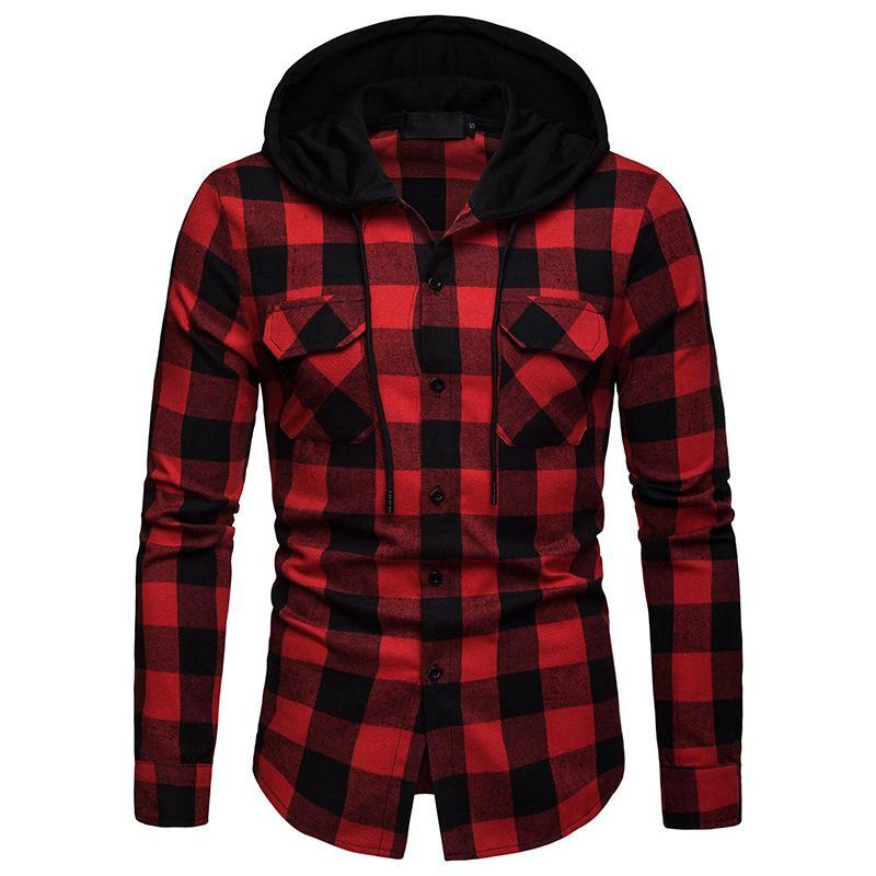 봄과 가을 패션 캐주얼 유럽 크기 남자 일치하는 격자 무늬 까마귀 비즈니스 슬림 긴팔 셔츠 셔츠