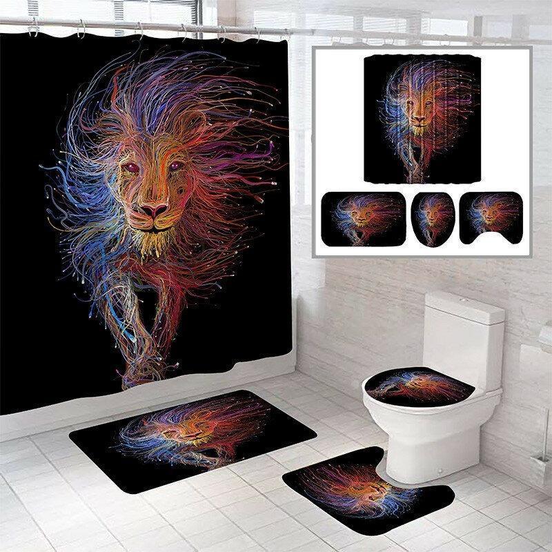 Shower Curtains Colorful Lion Pattern Curtain Bath Mat Toilet Pad Set Anti-slip Carpet For Bathroom Decoration