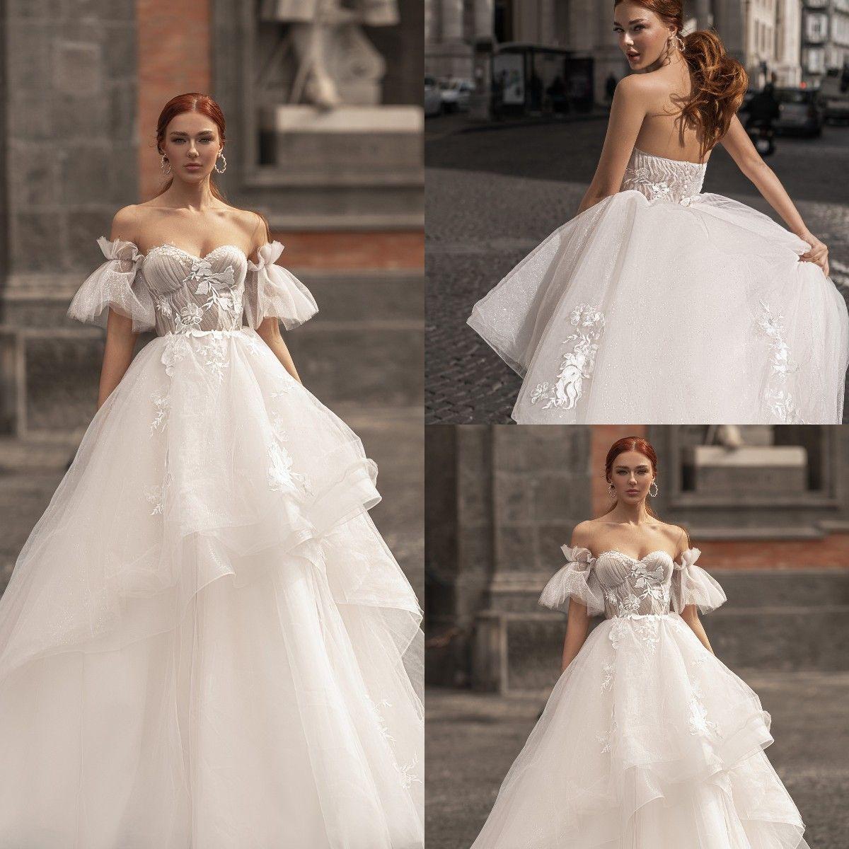 Katherine Joyce 2021 A Line Wedding Dresses Bridal Gowns Plus Size Backless Sweetheart Puff Sleeve Lace Applique Vestios De Novia