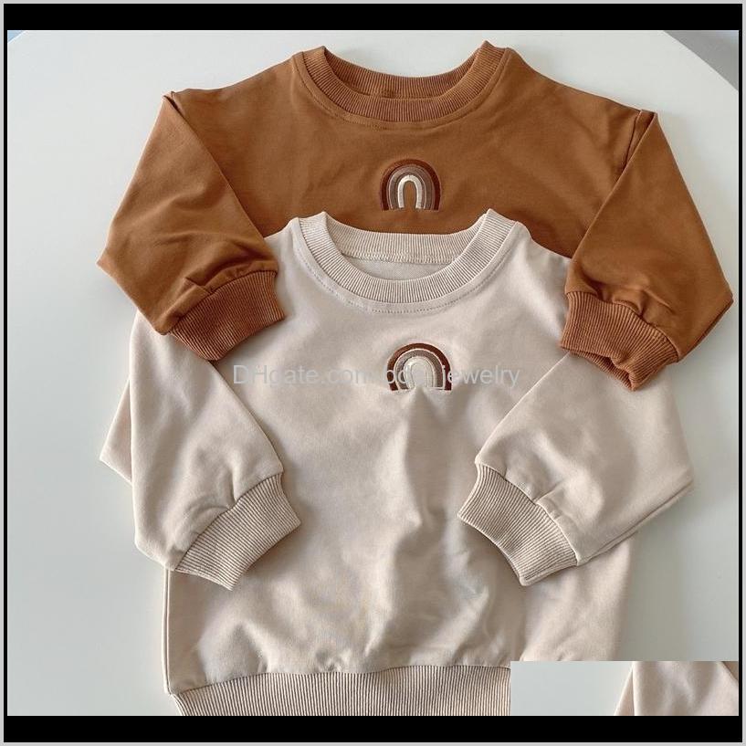 هوديس ملابس الطفل، انخفاض انخفاض التسليم 2021 الخريف طفل الفتيات الفتيان سوياتشيرتس قمم الاطفال طويلة الأكمام قوس قزح تي شيرت البلوز