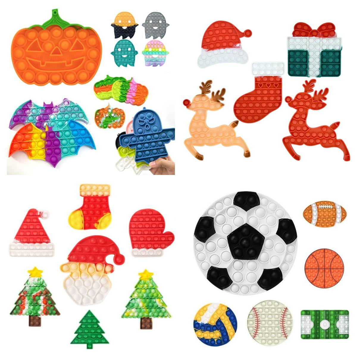 Halloween Pumpkin Push Fidget Jouets Cadeau De Christmas Boîte Cadeau Sensory Bulle Doigt Toy Fism Spécial Besoins anxiété Stress Stress Relever 2022 DHL