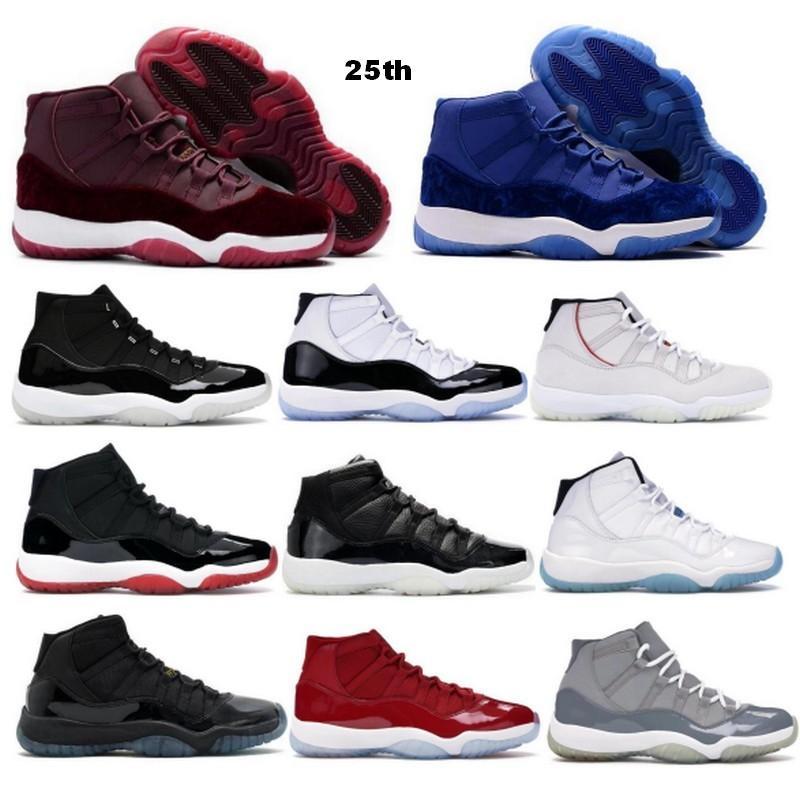 Баскетбольные туфли Jumpman 11 11S 25-летие Concord Velvet Heiress Heiress Fight Red Legend Gamma Blue Space Jam Somed 2021 мужские женские тренажеры