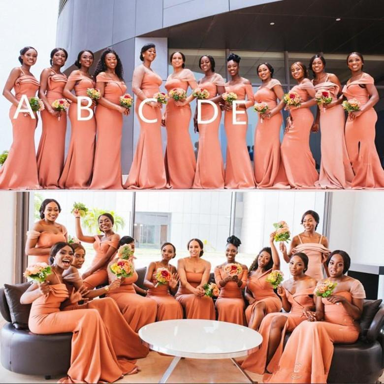 African Mixed Styles Mermaid Bridesmaid Dresses Long Convertible Wedding Party Dress Off Shoulder Plus Size Maid Of The Honor Vestidos M109