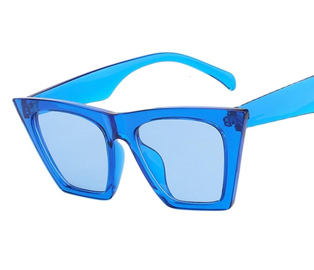Oversize sexy cateye sunglass verão estilo luz cor vidro com lente de espelho polarizado UV400