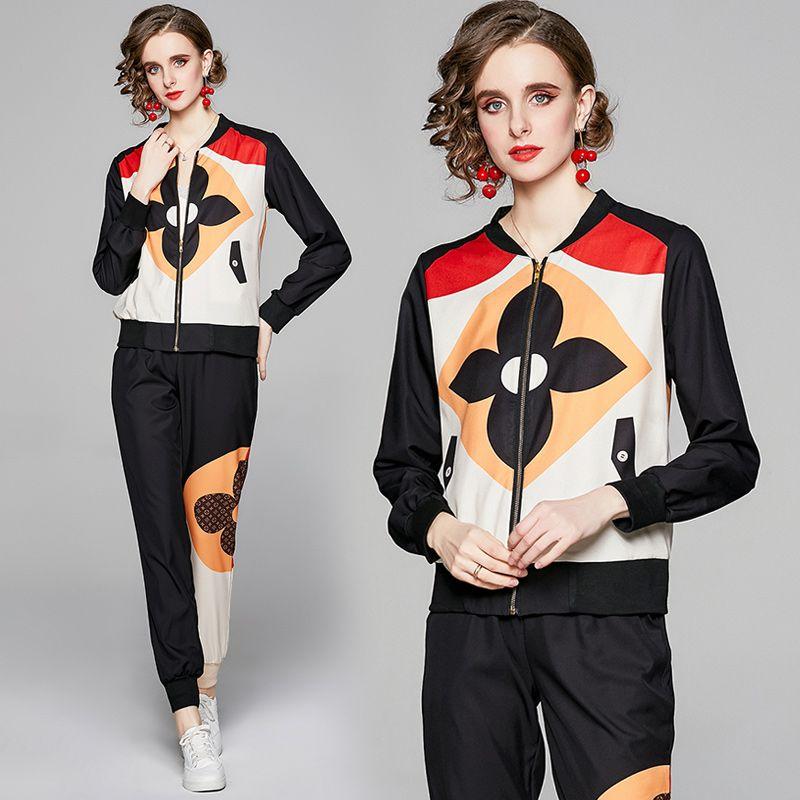 Son Tatil Pist Baskılı Pantolon Suits 2021 Bayanlar Tasarımcı Zarif Ceketler Ceket Ve Uzun Pantolon Ince İlkbahar Sonbahar Spor Spor Kadın Casual İki Adet Setleri