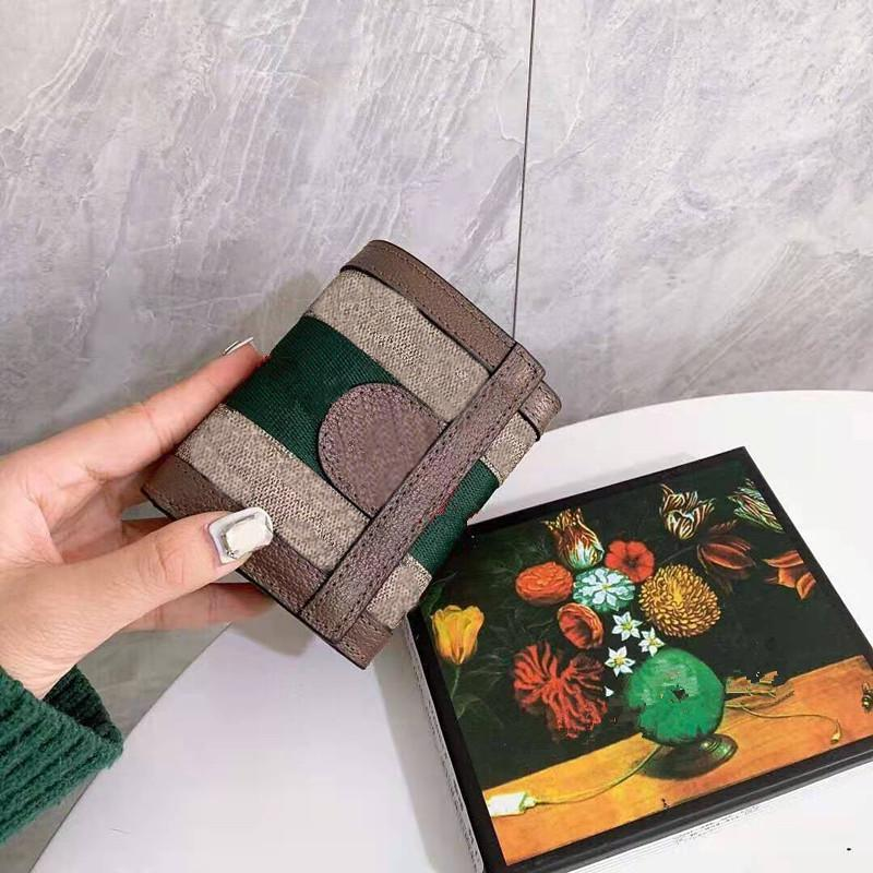 Fashion Women Wallet Red And Green Strips Gold Hardware Genuine Leather Short Wallets Coin Purses Small Card Holder Designer Bags Luxury Handbag Purse Womens Clutch