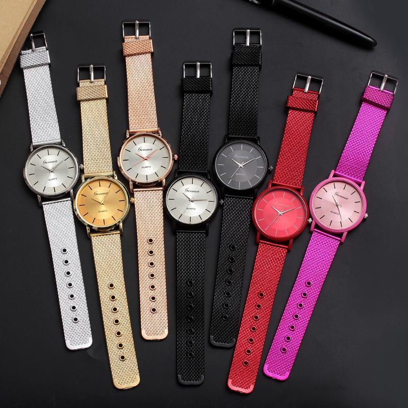 Wristwatches Quartz Classic Men Watch Wrist Silicone Mesh Belt Strap Casual Watches Female Date Waterproof Clock