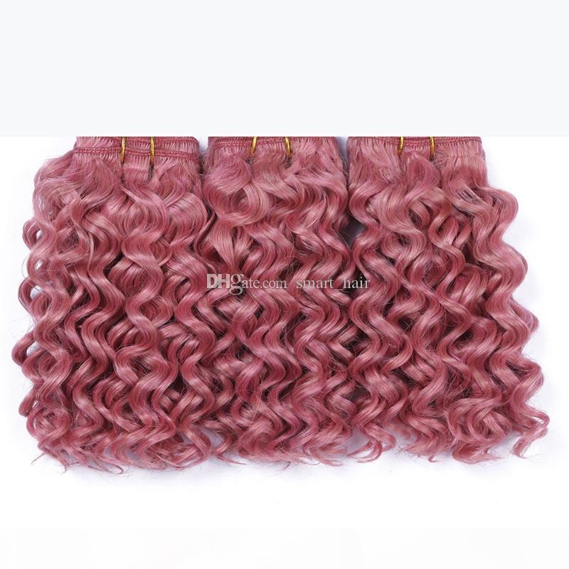 Rosa rosa Deep Capelli ricci fascicoli di buona qualità rosa rosa brasiliana prolunga capelli vergini profonde onda riccia tessuti capelli ricci 3pcs 10-30 pollici
