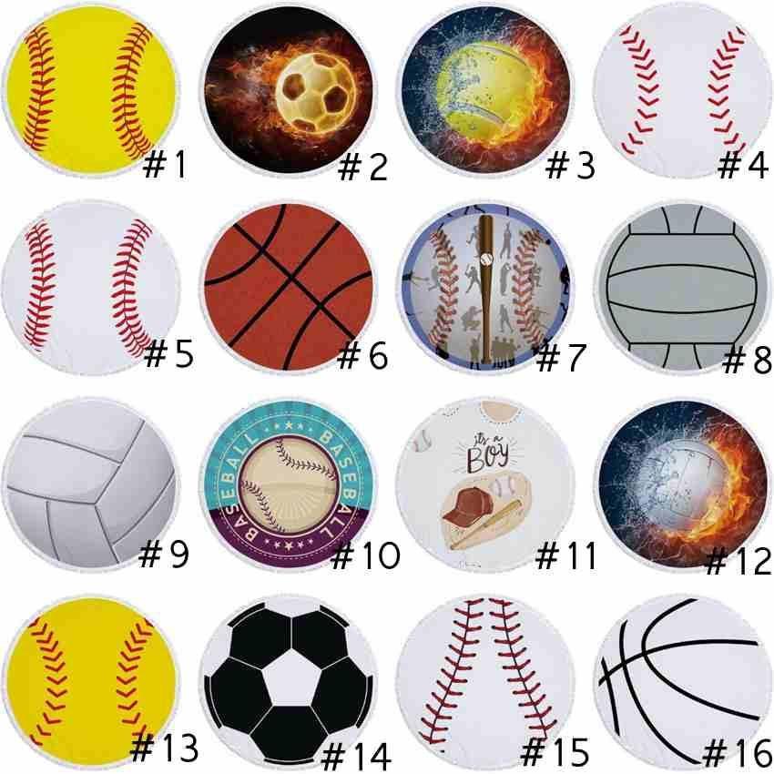 27 Styles Round Beach Towel Blanket Fire Softball Baseball Basketball Beach Blanket Bedroom Decor Yoga Mat Beach Towels