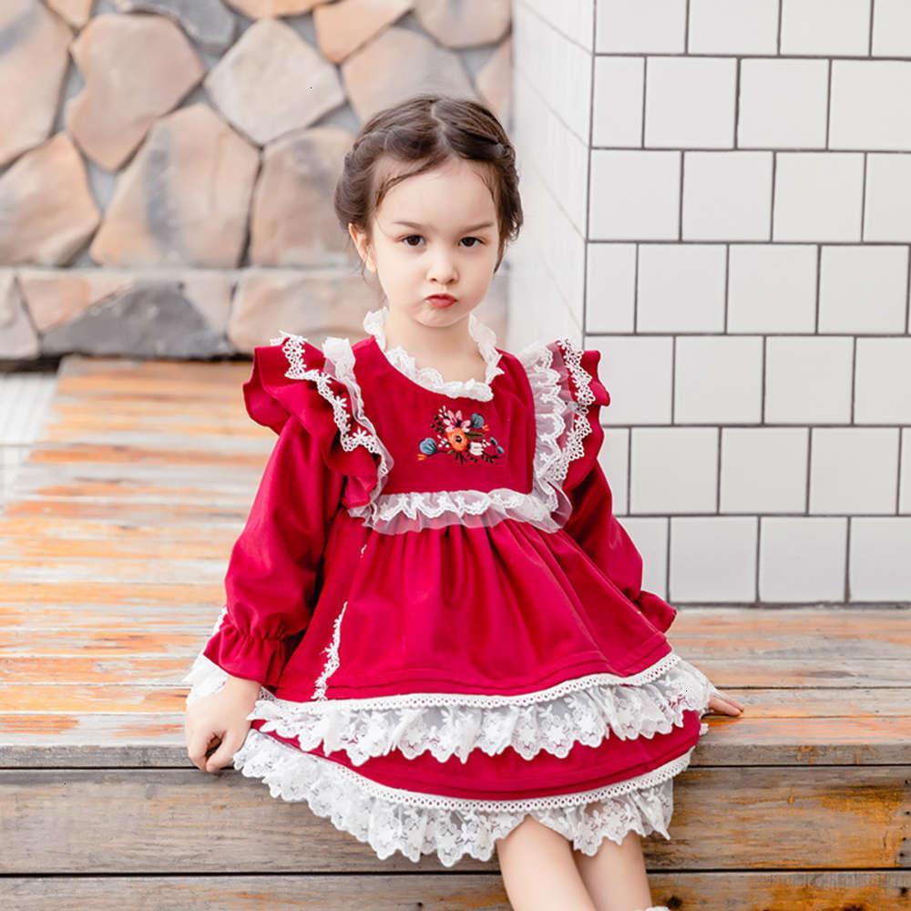 Девушки платья физические стрелковины, сладкая иностранная испанская юбка младенца ват вышивка лолита DRS