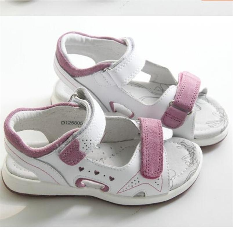 Girls sandals natural cowhide leather sports shoes non-slip sweat-absorbent size 25 to 30 wallvell 210712