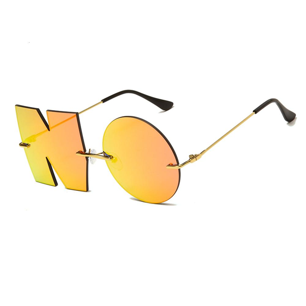Letra de moda Não Sunglass Luxury Brand Digner Mulheres Metal Sunglass Mulheres Trend Sunglass UV400 Shad Gafas de Sol