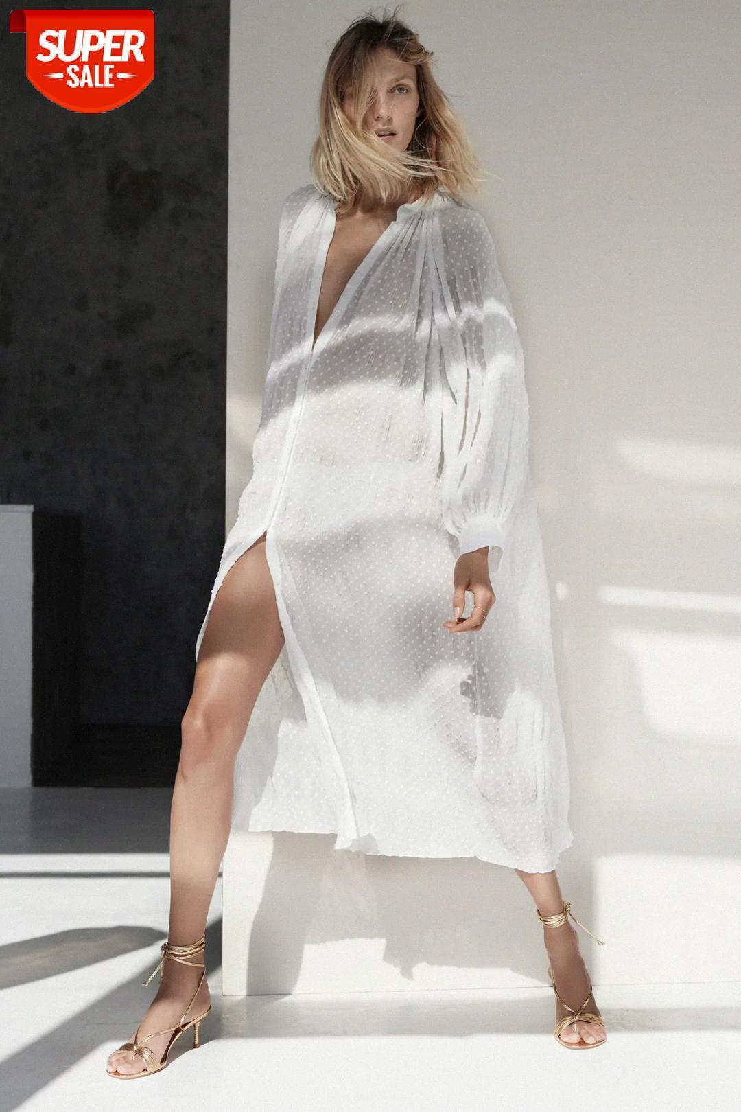 [auf Lager] 20 Mode Seerucker Stehkragen Langarm Damen Kleid Bikini Europäische und amerikanische Frauen # Ph2o