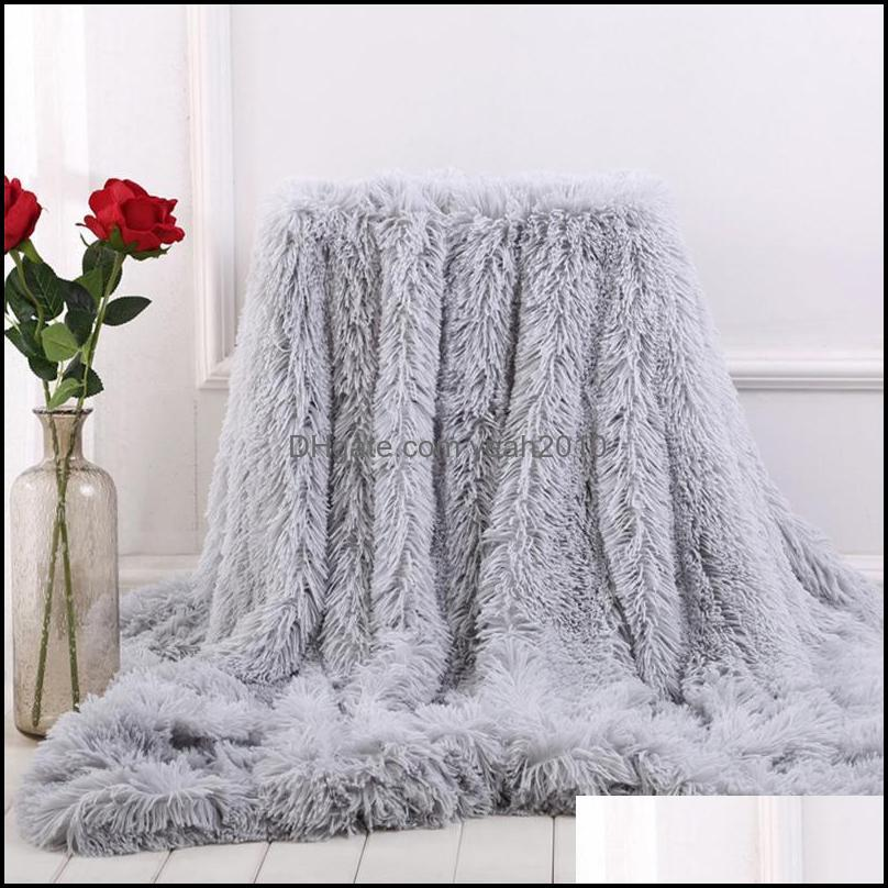 Blankets Textiles Home & Gardenblankets Super Warm Shaggy Fur Blanket Winter Thick Soft For Bed Sofa Tapestry Candy Color Double Layer Plush