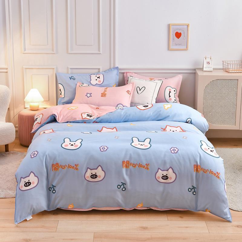 Bettwäsche-Sets Niedliche Cartoon-Katze gewaschene Baumwoll-Steppdecke Kissenbezug Bett-Bett-Schlafzimmer weich komfortable einzelne Set Ozeanien