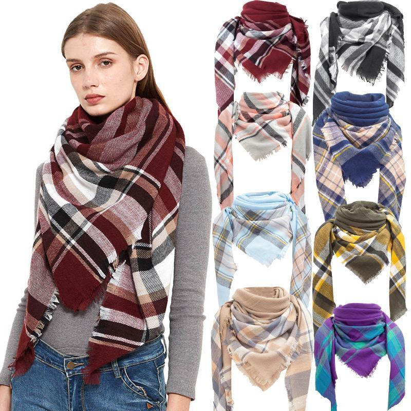 Womens Shaws Plaid Scarf Winter Tartans Shawl Poncho Women Warm Long Scarfs Luxury Capes Ladies Scarves #T2Q
