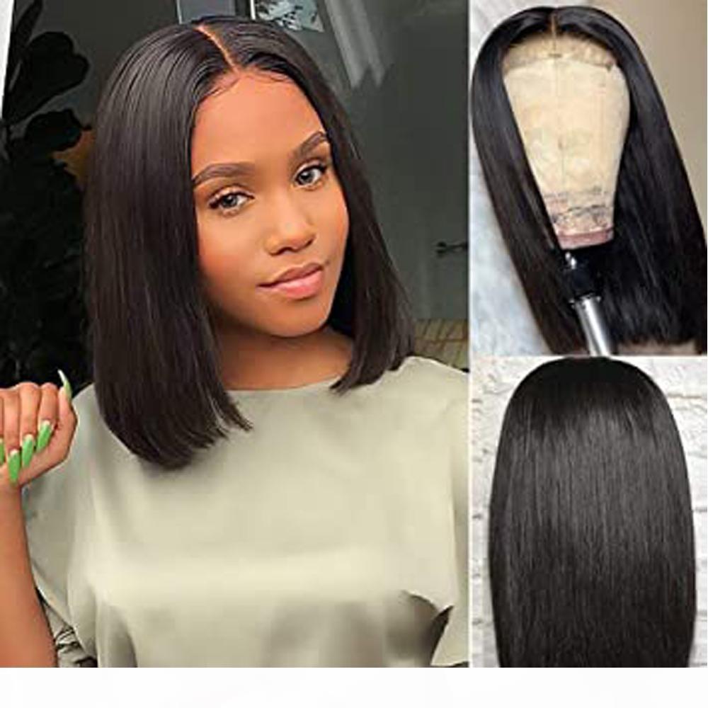 4x4 Fermeture de dentelle Bob Droit cheveux perruques Brésilien Vierge Cheveux Dentelle Dentelle Frontale Human Hair Perruques Swiss Dentelle Frontal Perruque 9A Note