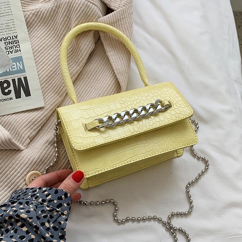 악어 패턴 스퀘어 토트 백 2021 패션 고품질 PU 가죽 여성의 체인 어깨 메신저 크로스 바디