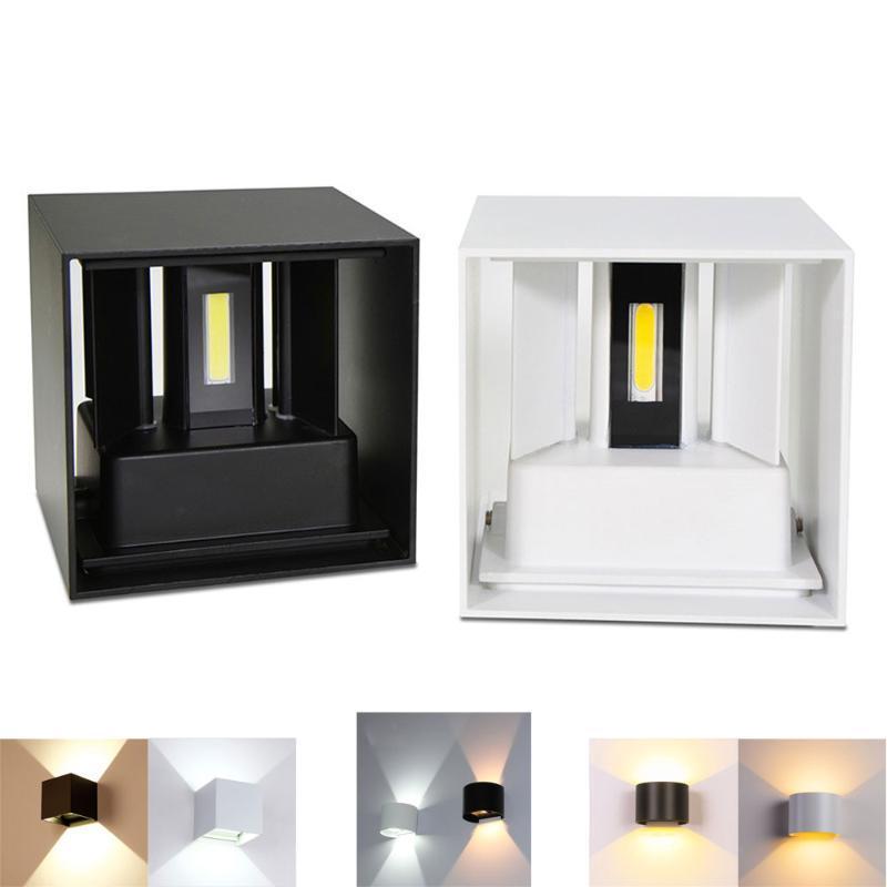 홈 장식 6W 12W COB LED 벽 램프 실내 야외 간단한 스타일 알루미늄 조명 침실 복도 현관 발코니 램프
