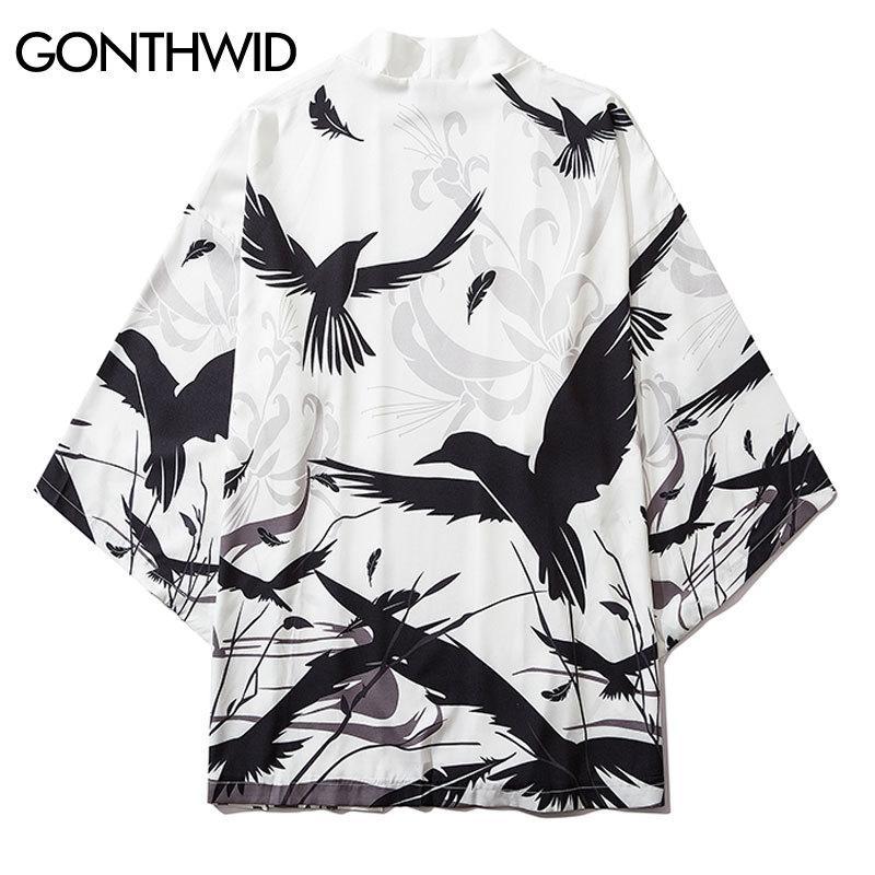 Männer Jacken Gonthwid Herren Raven Crow Bird Print Japanische Kimono Weste JAS Tops Streetwear Harajuku Hip Hop Casual Losse