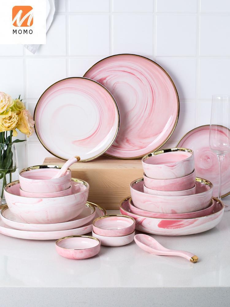 Lagerflaschen Gläser Rosa Nette Goldene Trimm Marmor Keramik Geschirrplatte Haushaltsabendessen Reisschale Suppennudel