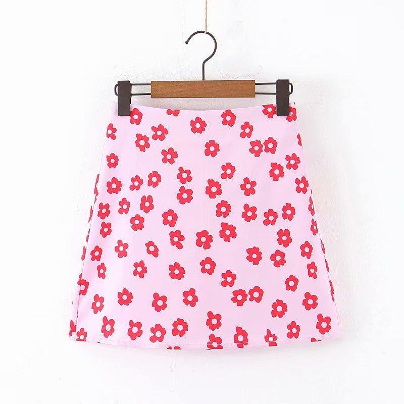 Röcke Frauen Mode Blumendruck Rosa Eine Linie Rock Faldas Mujer Damen Rücken Reißverschluss Urlaub Stil Vestidos Chic Mini Qun559