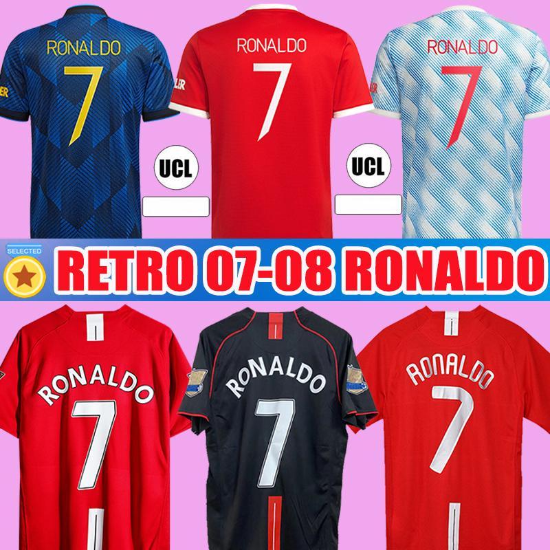 호나우두 루니 SAHA 레트로 맨체스터 2007 2008 빈티지 축구 유니폼 축구 셔츠 07 08 United Classic Nani Man Utd Camiseta Long Sleeve 21 22 홈 멀리 세 번째 키트
