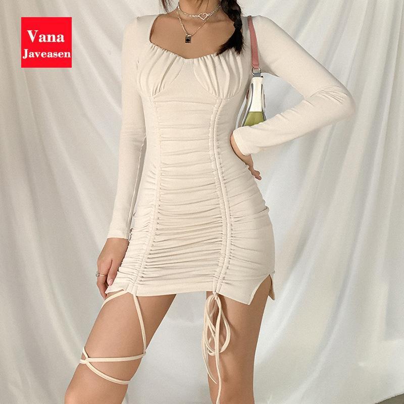 Pescoço quadrado Bodycon vestido vestido mulheres roupas luva longa cintura alta cordão hem lace-up mini vestidos vestes vestidos casual