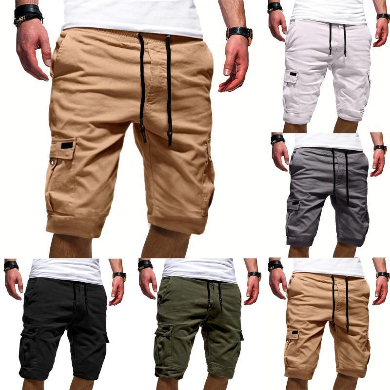 Shorts Masculinos Verão Carga Esporte Puro Cor Bandagem Casual Sweatpants Sweatpants Calças Bermudas