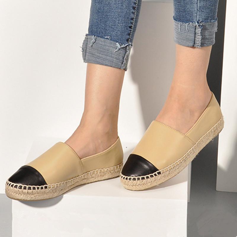 Fabrika Doğrudan Satış Kadın Espadrilles Bayanlar Rahat Ayakkabılar Flats Bahar Sonbahar Moda Tasarımcısı Gerçek Hakiki Deri Marka Loafer'lar Slip-on Platform Ayakkabı 34-42