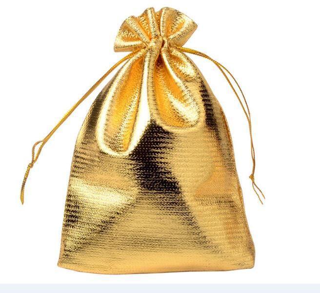 100 sztuk / partia Złoto Kolor Biżuteria Opakowanie Wyświetlacze Wouch Torby Dla Kobiet DIY Moda Prezent Craft W38