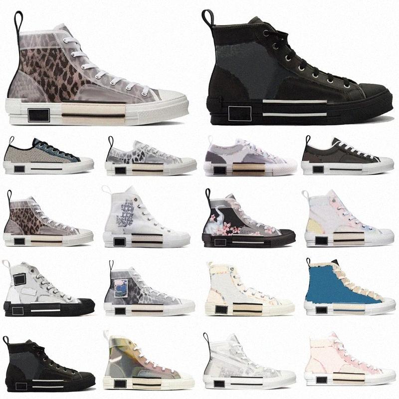 2021 مصممين أحذية رياضية مستفيد الرجال النساء الأحذية التقنية جلدية عالية منخفضة B23 منصة الزهور 19ss في الهواء الطلق عارضة الأحذية خمر مع مربع