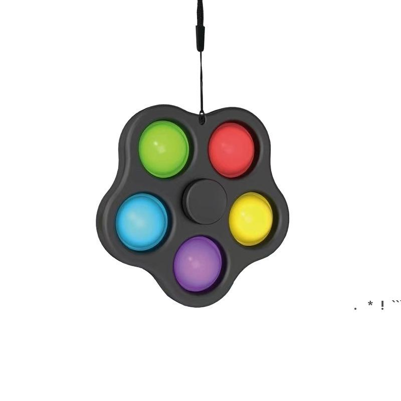 Fidget Spinner Push Bubble Beychain 5 Bubble Paill Top Toy Toy Простое Ямерное кольцо для ключа Сжатие пальца EWB6557