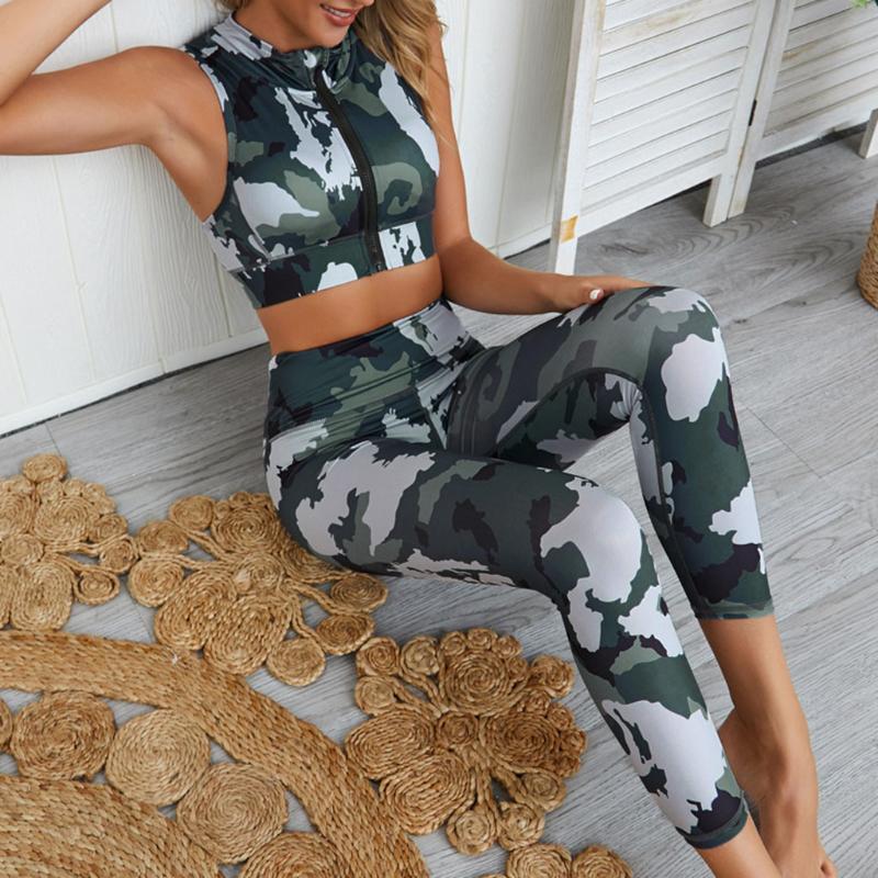 Kamuflaj Kadınlar Spor Takım Elbise Rahat Yaz Eşofman Fermuar Kırpma Tank Top Iki Parçalı Set Bayan Eşofman