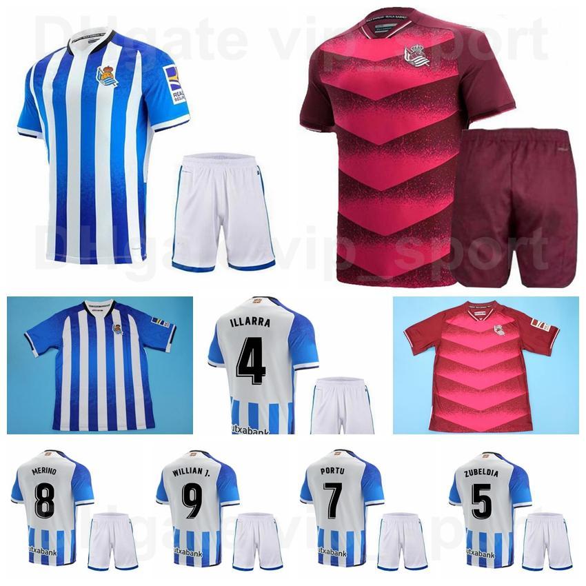 Real Sociedad Soccer 10 Mikel Oyarzabal Jersey Set 19 Alexander Isak 35 Julen Lobete 11 AdNan Januzaj 9 Willian José 21 David Silva Camisa de Futebol Kits Home 2021 2022