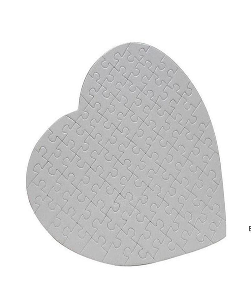 Coração em branco em forma de quebra-cabeças 75 peças sublimação em branco Pérola Jigsaw Diy quebra-cabeça casamento aniversário dia dos namorados festa de festa de festa DHC7212