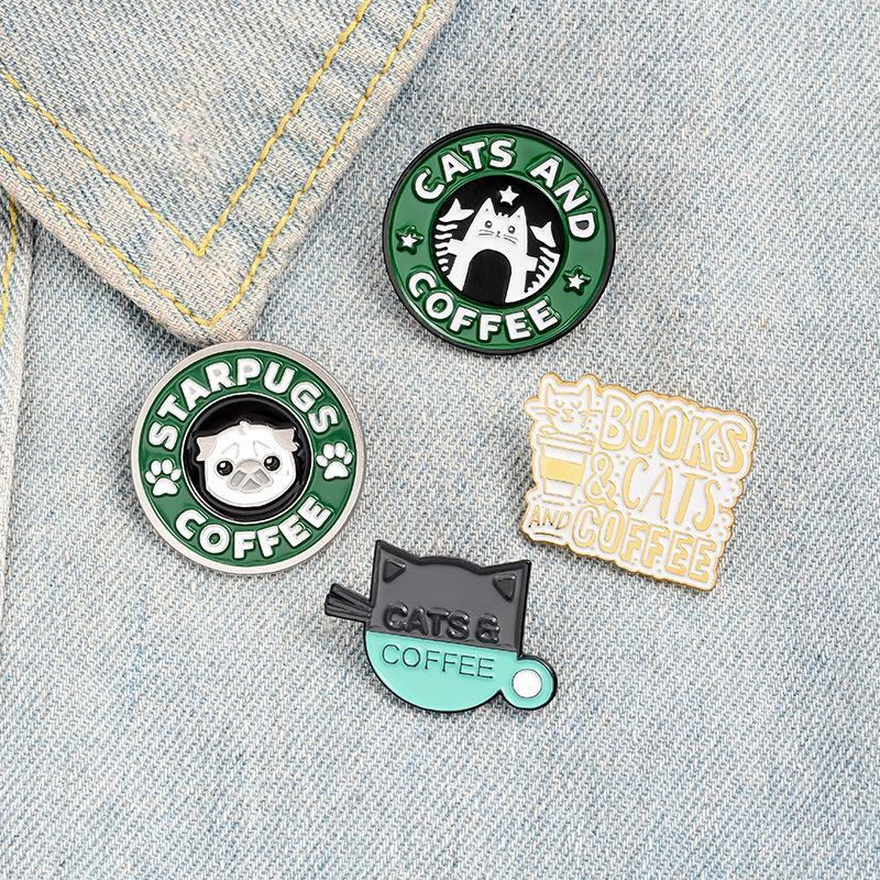 Katzen Kaffee Email Pin Benutzerdefinierte Mops Welpen Katze Café Broschen Abzeichen Tasche Hemd Revers Pin Schnalle Nette Tier Schmuck Geschenk für Freunde 707 T2