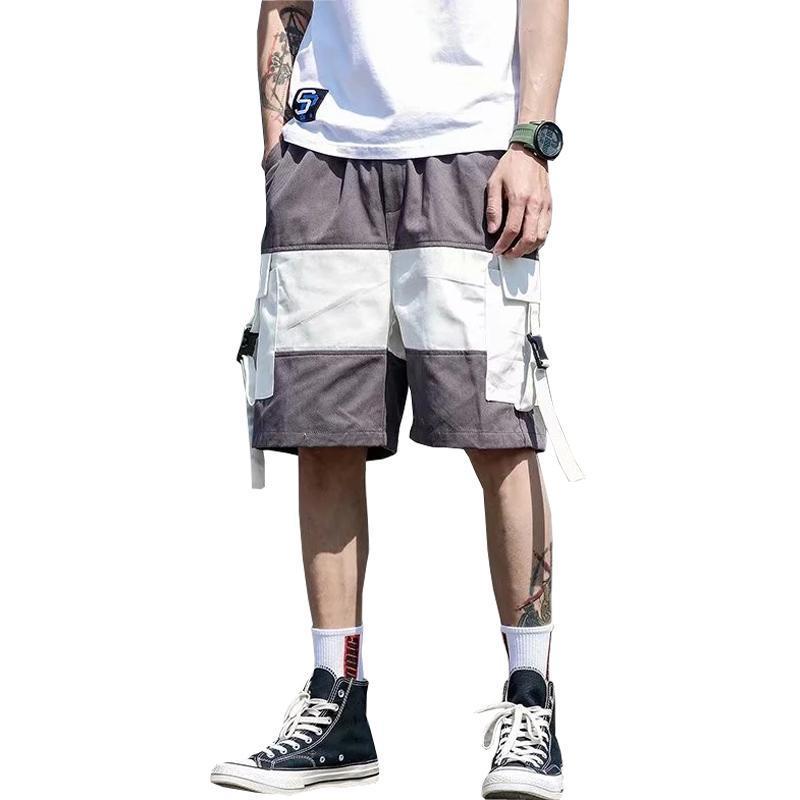 Shorts masculinos verão 2021 homens casual streetwear harajuku fitas elásticas cintura algodão carga curta