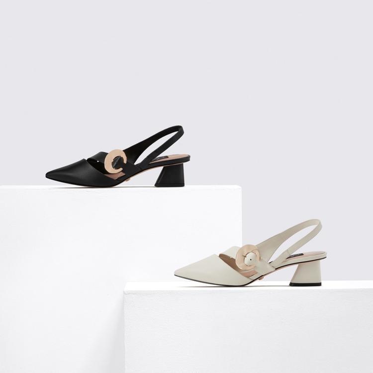 Beige Fersen Sandalen Schnalle Strap 2021 Sommerkomfort Schuhe für Frauen med Black Girls Medium Mode spitz Stiletto Microf