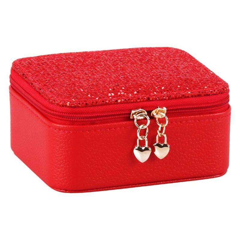 سستة إغلاق الدائري تخزين مجوهرات مربع مصغرة أقراط المنظمون عرض هدية المنزل بو الجلود المحمولة السفر حقائب مقصورة متعددة