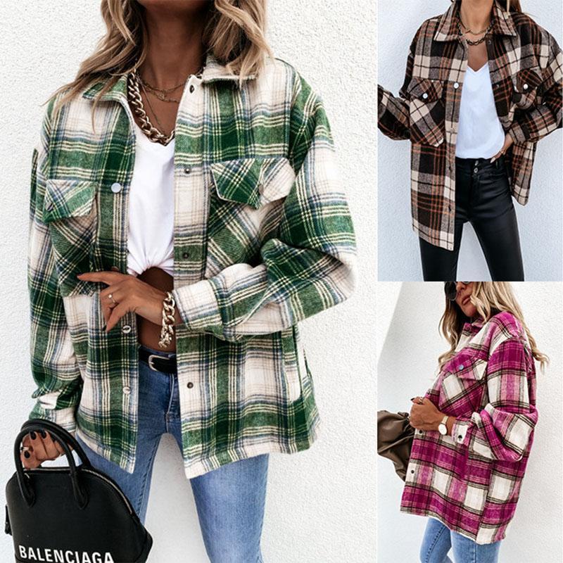 Womens Casual Plaid Wool Blend Button Down Long Sleeve Shirt Jacket Coat Women's Jackets