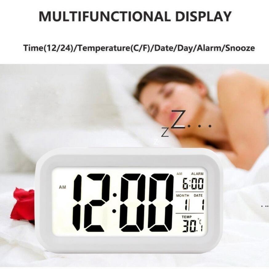 الصمام المنبه الرقمي ساعة الإلكترونية الذكية كتم الإضاءة الخلفية عرض درجة الحرارة تقويم قيلولة غفوة وظيفة المنبه EWD6922