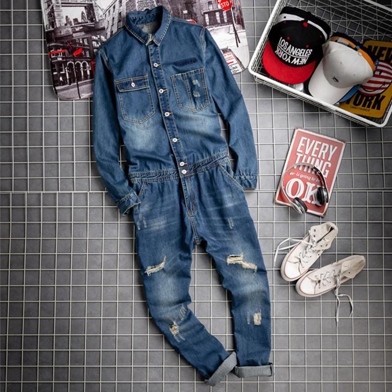 Erkekler Moda Yırtık Kot Tulum Rahat Denim Uzun Kollu Tulumlar Tulum Askılı Pantolon Erkek Hiphop Streetwear Giyim Erkekler