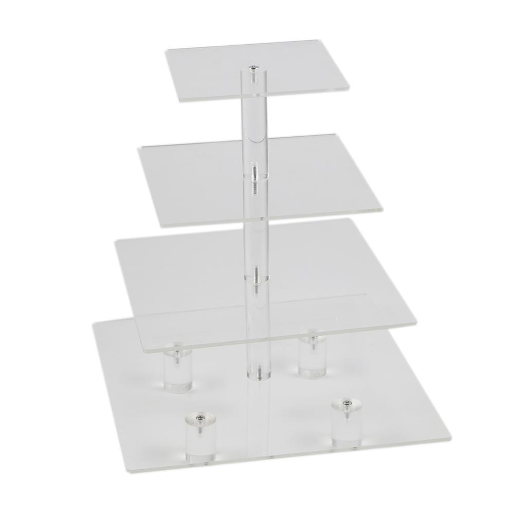 HMROVOOM прозрачный квадратный 4 уровня акриловый кекс стенд / акриловый держатель торта с основанием для рождения вечеринок