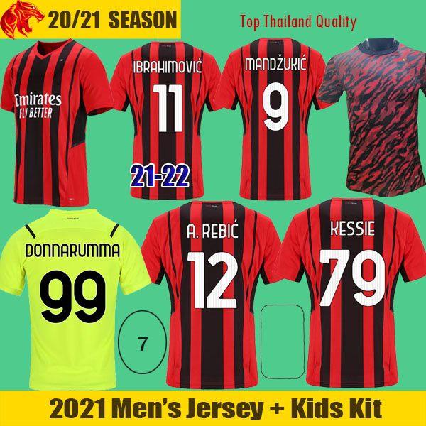 21 22 AC Milan Soccer Jerseys IBRAHIMOVIC 2021 KESSIE R.LEAO THEO MANDZUKIC REBIC Football Shirt DONNARUMMA Goalkeeper Jersey TONALI Maglia da calcio